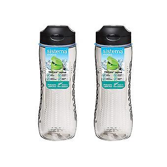 Zestaw Sistema 2 Tritan Active Bottles 800ml Czarny