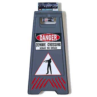 Zombie Varning Danger Golv Parkering Logga med Tejp Halloween Party Kostym Prop
