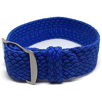 Clearance perlon watch strap blue 20mm with matt stainless steel buckle
