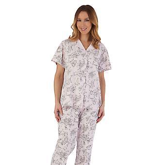 Slenderella PJ55125 Mujeres's Conjunto de pijama de algodón floral rosa