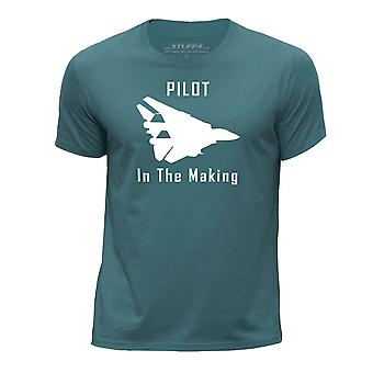 STUFF4 Boy's Round Neck T-Shirt/Funny Pilot In The Making/Ocean Green
