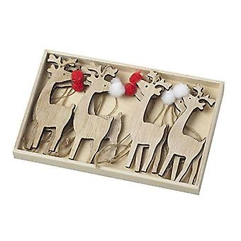 Wooden Christmas Reindeer Tree Decorations with Mini Pom Pom Nose x 8