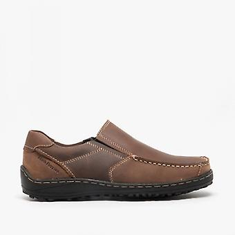 Hush Chiots Thomas Mens Cuir Slip On Chaussures Brown