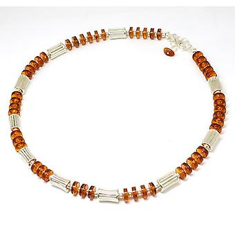 The Olivia Collection Sterling Silver Cylinder Amber Bead Necklace