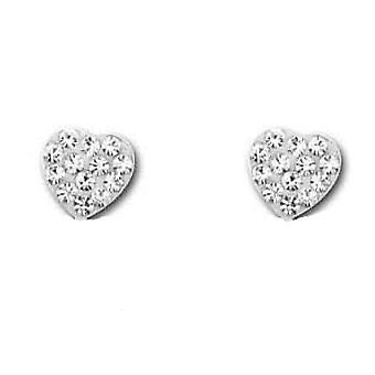 The Olivia Collection Sterling Silver Crystal Encrusted Heart Earrings