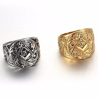 Gold and silver stamped freemason ring