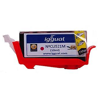 Kierrätetty muste kasetti iggual Canon PSICLI521M Magenta