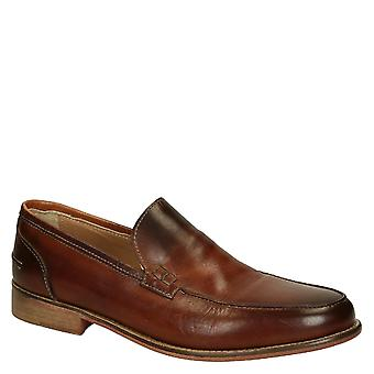 Tan calf leather men's loafers shoes Handmade