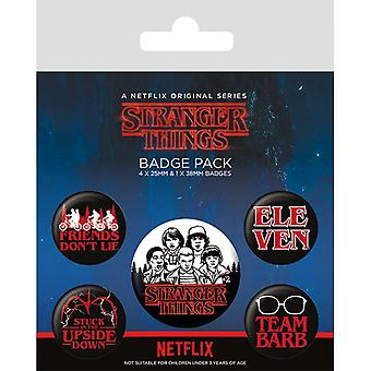 Stranger Things Characters Pin Button Badges Set
