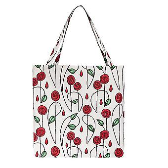 Mackintosh prosta torba na gusset róży | kwiatowa składana torba na zakupy | guss-rmsp