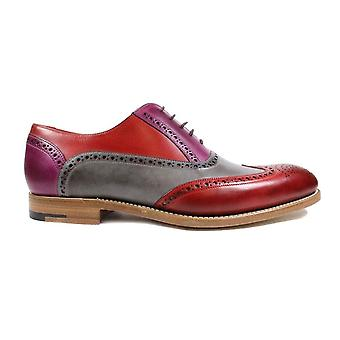 Barker Valiant Red/Grey/Purple Painted Calf Leather Mens Oxford Lace Chaussures