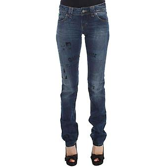 Galliano Blue Wash Cotton Blend Slim Fit Bootcut Jeans -- SIG3365552