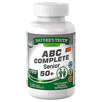 Nature's truth abc complete, senior 50+, multivitamine, gecoate caplets, 100 ea