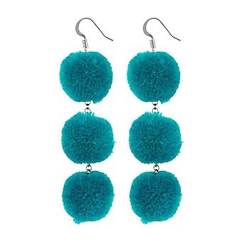 Triple Pom-Pom Cotton Drop Earrings