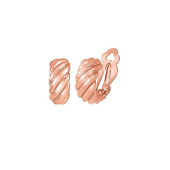 Eternal Collection Mirage Classic High Gloss Rose Gold Tone Half Hoop Clip On Earrings