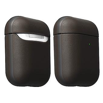 Leather Case for Airpods Waterproof Qi Wireless Charging-Active- Nomad, Brown
