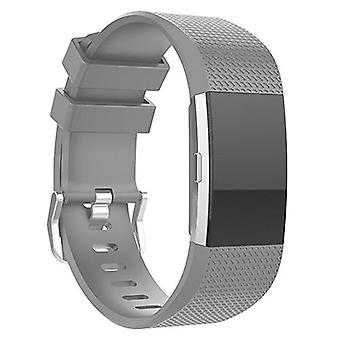 Replacement Wristband Bracelet Strap Band for Fitbit Charge 2 Classic Buckle[Grey,Large] BUY 2 GET 1 FREE
