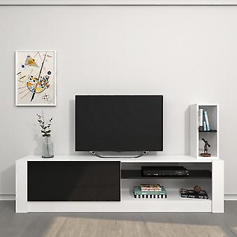 Porta de TV móvel Gomez Color White, Preto em Chip Melaminic 180x30x43 cm, 20x20x55 cm
