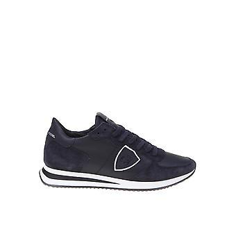 Philippe Modelo Tzlu5005 Men's Blue Leather Sneakers
