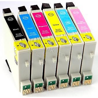 RudyTwos استبدال إبسون Hummingbird الحبر خرطوشة سوداء سماوي السماوي الأصفر ضوء سماوي وضوء أرجواني متوافق مع قلم الصور P50، PX650، PX660، PX700W، PX710W، PX720WD، PX800FW، PX810FW،