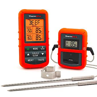 Wireless Digital Bbq Oven Meat Thermometer Home Use - Stainless Steel Probe Large Screen With Timer