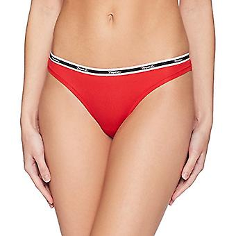 Brand - Mae Women's Matte Logo Elastic Modal Thong, 3 Pack,Deep Ocean/Grape Wine/Ribbon Red,X-Small