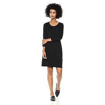Marke - Tägliche Ritual Frauen's Jersey 3/4-Sleeve Scoop-Neck T-Shirt Kleid, schwarz, Medium