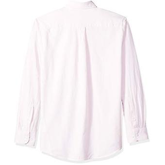 Essentials Men's Almindelig-Fit Langærmet Solid Pocket Oxford Shirt, Pink, Lille