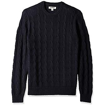 Goodthreads Men's Soft Cotton Cable Stitch Crewneck Sweater, Solid Navy, XXX-...