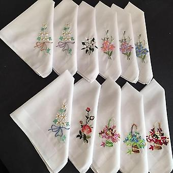 Vintage Embroidered Pocket Square Cotton Floral Handkerchief - Cotton Hanky
