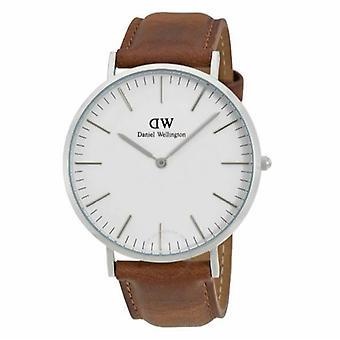 Daniel Wellington DW00100110 40mm Hombres's Dapper Durham Cuero Blanco Dial Watch