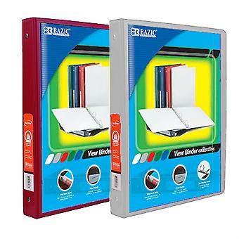 Combo9, BAZIC 1/2 Inch 3-Ring View Binder with 2-Pockets (Case pack of 24 consist 12-Burgundy & 12-Grey)