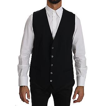 Dolce & Gabbana Black Waistcoat Formal Gilet Cotton Vest -- TSH3093424