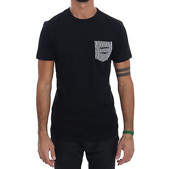 Musta Puuvilla Crewneck T-paita TSH1302-1