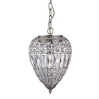 1 colgante de techo ligero colgante plata satinada con cristales, E14