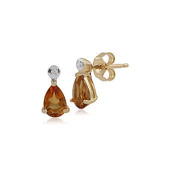 Classic Pear Citrine & Diamond Drop Earrings in 9ct Yellow Gold 135E1263089