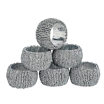 Round Beaded Napkin Rings With Fabric Lining - Silver - Pack of 6