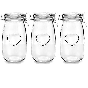 Nicola Spring Heart Glass Storage Jars with Airtight Clip Lid - 1.5L Set - White Seal - Pack of 3