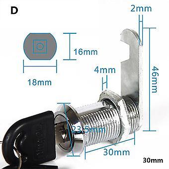 Metal Alloy Cylinder Cabinet Skåp Cam Lås med 2 nycklar