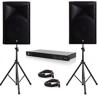 Party pack two - 2 x alpha 15 1600w peak pa speakers with amplifier, cables and stands