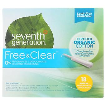 Seventh Generation Tampons With Comfort Applicator Regular, 18 Pieces