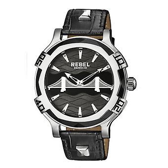 Rebel Men-apos;s RB102-4071 Brooklyn Bridge Black Dial Black Leather Montre-bracelet