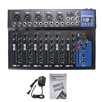 7 Channel Bluetooth Portable Audio Mixer W/usb Dj Sound Mixing Console Mp3 Jack Karaoke 48v Amplifier