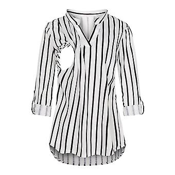 Women Maternity Long Sleeve Clothes Striped V Neck  Nursing Blouse For Breastfeeding Solid For Pregnant