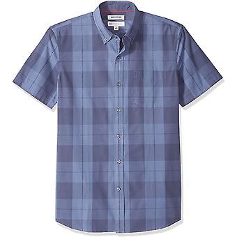 Goodthreads Men's Standard-Fit Short-Sleeve Plaid Poplin Shirt, -indigo large...