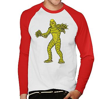 The Creature From The Black Lagoon Full Body Illustration Men's Baseball Long Sleeved T-Shirt