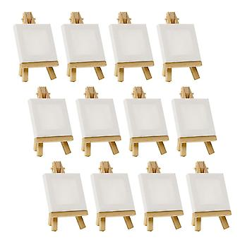 12pcs Artists 5 Inch Mini Easel, 3 Inch Mini Canvas Set Painting Kids Craft