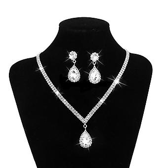 Rhinestone Long Pendant-full Crystal Silver Plated Necklace, Earrings, Elegant