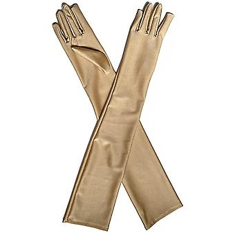 Elbow Stretch Satin, Fingers Long Gloves - Women Flapper Matching Costume