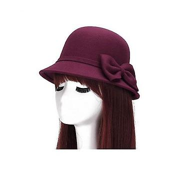 Fashion Vintage Women Ladies Wool Fedora Hat Bucket Dome Bell Bow Cap